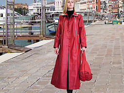 Higgs Leathers NEW!  Rosina (ladies Red Leather swingback coats)